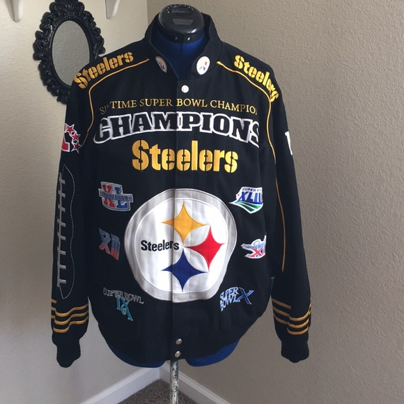 best service 98ccd c7c91 Pittsburgh Steelers NFL 6 Time Super Bowl jacket